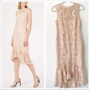 NWT Calvin Klein Lace Floral Trumpet Midi Dress 4